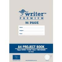 Writer Premium A4 Project Book 96 Page Plain/8mm Ruled and Margin Banana