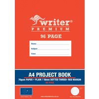 Writer Premium A4 Project Book 96 Page Plain/18mm Dotted Thirds and Margin Moon