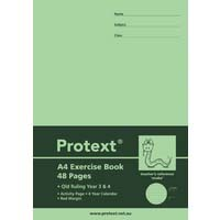 Protext A4 48 Page Exercise Book QLD Ruled Year 3/4 and Margin Snake