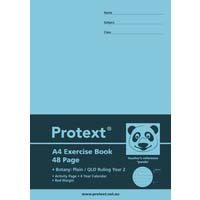 Protext A4 48 Page Exercise Book Botany Plain/QLD Ruled Year 2 and Margin Panda
