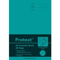 Protext A4 48 Page Exercise Book Botany plain/QLD Ruled Year 3/4 and Margin Turkey