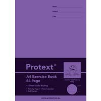 Protext A4 64 Page Exercise Book 18mm Solid Ruled and Margin Frog