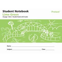 Protext Student Note Book Lime Green 32 page Double Ruled 8mm/ Guide