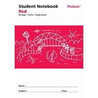 Protext Student Note Book Red 64 page Single Ruled 12mm