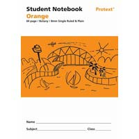 Student Note Book Orange 64 page Single Ruled 8mm/ Plain