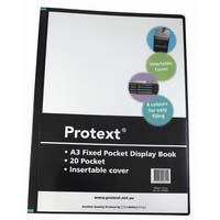 Protext A3 Display Book 20 page Fixed Pocket Blue