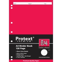 Protext Premium A4 Binder Book Ruled 8mm 128 Page & Margin B4