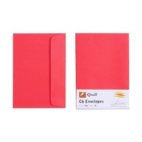 Quill C6 Envelopes 80gsm Red Pk25