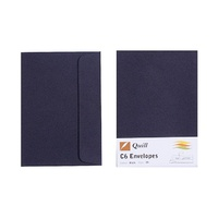 Quill C6 Envelopes Peel & Seal Black Pk25