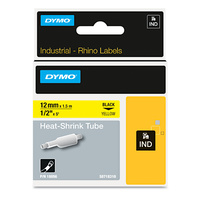 Dymo Rhino Industrial Labels Heat Shrink Tube 12mm  X 1.5M Black on Yellow