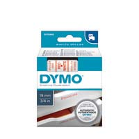 Dymo D1 Label Cassette 19mmx7m Red on White