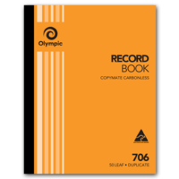 Olympic Carbonless Record Book 706 50 Leaf Duplicate 250X200mm