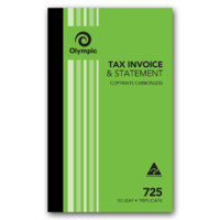 Olympic Carbonless Invoice & Statement Book 725 Triplicate 50 Leaf 200X125mm