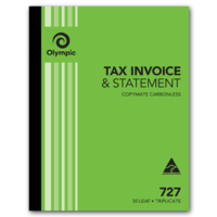 Olympic Carbonless Invoice & Statement Book 727 Triplicate 50 Leaf 250mm X 200mm