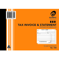Olympic Carbonless Invoice&  Statement Book 728 Duplicate 50 Leaf 210X148mm