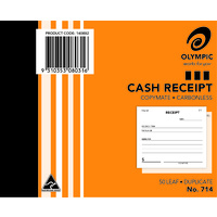 Olympic Carbonless Cash Receipt Book 714 Duplicate 50 Leaf 125X100mm