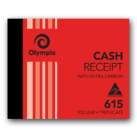 Olympic Carbon Cash Receipt Book 615 Triplicate 100 Leaf 100X125mm