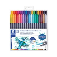 Staedtler 3001 Double Ended Watercolour Brush Pens Assorted Colours Pk36