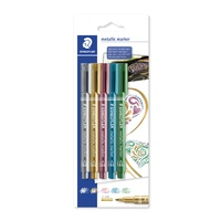 Staedtler 8323 Metallic Marker Permanent 12mm Gold/Silver/Red/Blue/Green Pk5