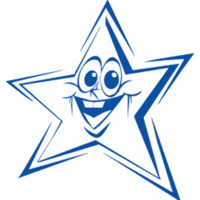 Shiny Merit Stamp Funny Face Star Blue