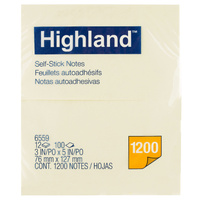 Highland Notes 76x127mm Pk12 Yellow 6559