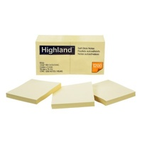 Highland #6549 Recycled Yellow Repositional Notes 76x76mm 12pk