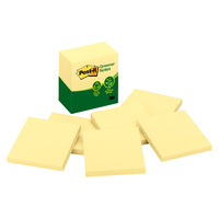Post-it Greener Notes Canary Yellow 76mm x 76mm Pk6 5416-RP-Y