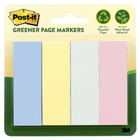 3M Post-It Page Markers #671-4RP-A Greener Page Markers 25x76mm Pastels