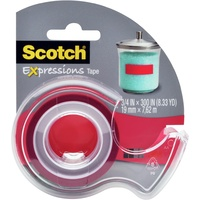 Scotch Magic Expressions Tape - Coloured 19mmx7.62M Red