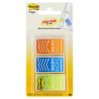 3M POST-IT FLAGS PRIORITIZATION  #682-SH-OBL 24mm x 43mm - Sign Here - Orange/Blue/Lime 60pk