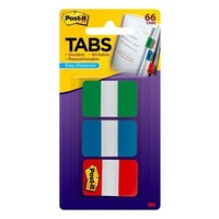 Post-it Durable Tabs 25x38mm Green Blue Red Pk66 686-GBR