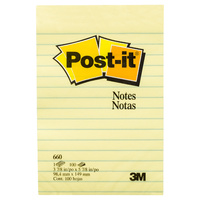 Post-it Lined Notes Canary Yellow 101x152mm Pk1660