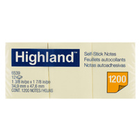 Highland Notes 36x48mm Pk12 Yellow 6539