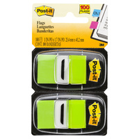 3M Post-It Flags #680-BG2 Twin Pack Bright Green