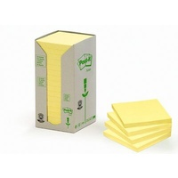 Post-it 100% Recycled Notes Canary Yellow 76x76mm 16 pads/tower 654-RTY