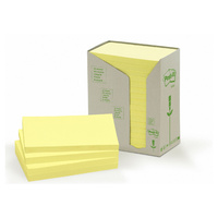 Post-it 100% Recycled Notes Canary Yellow 76x127mm 16pads/tower 655-RTY