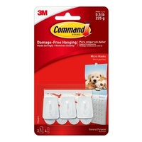 3M Command 17066ANZ Micro Hooks White 3 Hooks / 4 Strips