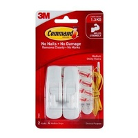 3M Command Medium Hooks White Pk2 17001
