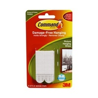 3M Command 17201 Picture Hanging Strips Medium 4Pk White