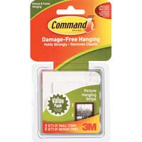 3M Command 17203 Picture Hanging Strips Combo Pack 4 Small 8 Medium White