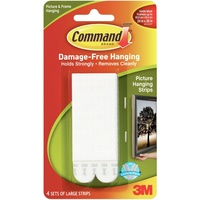 3M Command Large Picture Hanging Strips White Pk4 17206