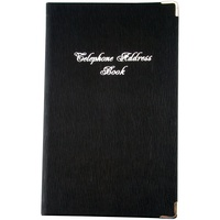 Address Book PU Casebound Cover With Silver Corners 203 x 127mm Black