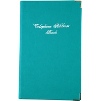 Address Book PU Casebound Cover With Silver Corners 203 x 127mm Teal