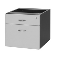 Logan Fixed Pedestal - 1Std 1F Drawer White & Ironstone