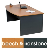 Logan Bow Front Desk 1800X900 - Beech Ironstone