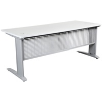 Summit Complete Desk - Silver Frame, Modesty Panel