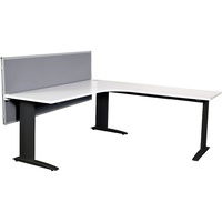 Summit Corner Workstation - Black Frame, Cable Beam